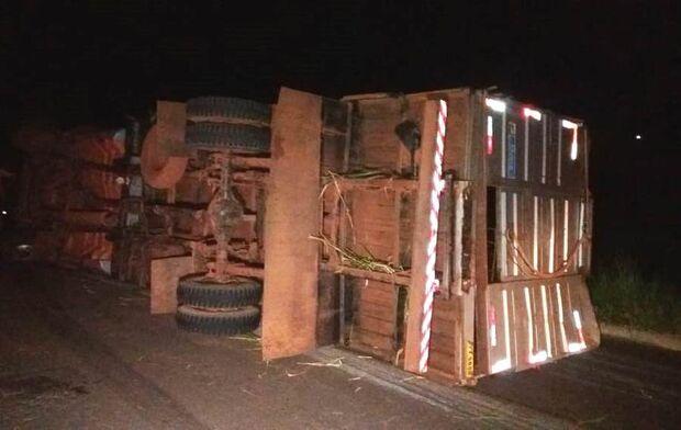Caminhão boiadeiro tomba na BR-267; buracos na via podem ter contribuído com acidente