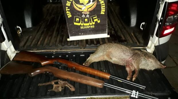 Homem é preso com armas de fogo, munições e animal abatido em porta-malas de veículo