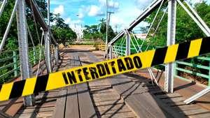 Ponte velha é interditada pela prefeitura de Aquidauana após princípio de incêndio