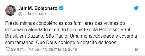 """""""Covardia sem tamanho"""", diz Bolsonaro sobre massacre"""