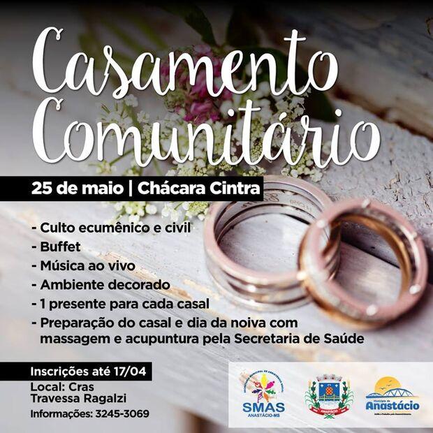 Quer casar? Prefeitura de Anastácio está com inscrições abertas para casamento coletivo