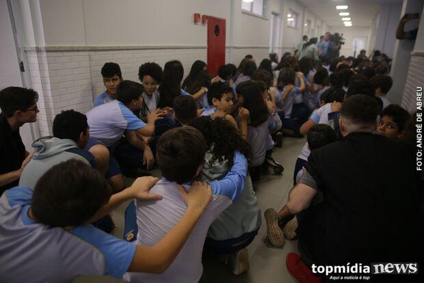 Após tiro em sala, escola simula situação de crise e executa plano de evacuação na Capital