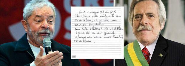 Da cadeia, Lula escreve bilhete reconhecendo José de Abreu como presidente