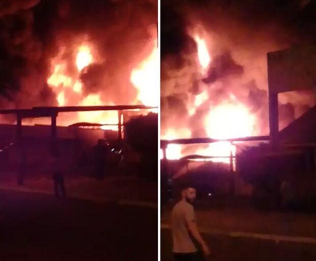 VÍDEO: fogo toma conta e destrói empresa de pneus em Campo Grande