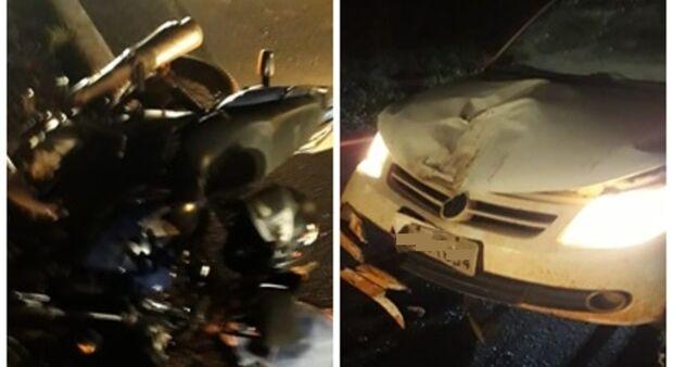 Motociclista bate em Saveiro e morre na MS-276; condutor do carro fugiu do local