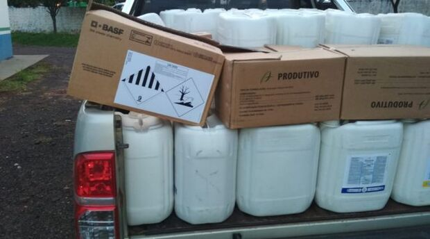 Empresa é autuada por transportar de forma ilegal 795 litros e 21 kg de agrotóxicos em MS