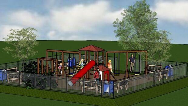 Parquinho começa a ser instalado no parque Jacques da Luz e fará a diversão da criançada