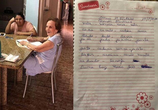 Professora de 92 anos melhora ao ensinar cuidadora a ler e escrever
