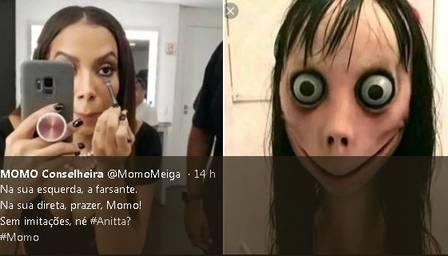Anitta vira piada na web ao ser comparada com boneca momo