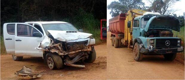 Freio falha e caminhonete bate de frente com caminhão em rodovia do MS