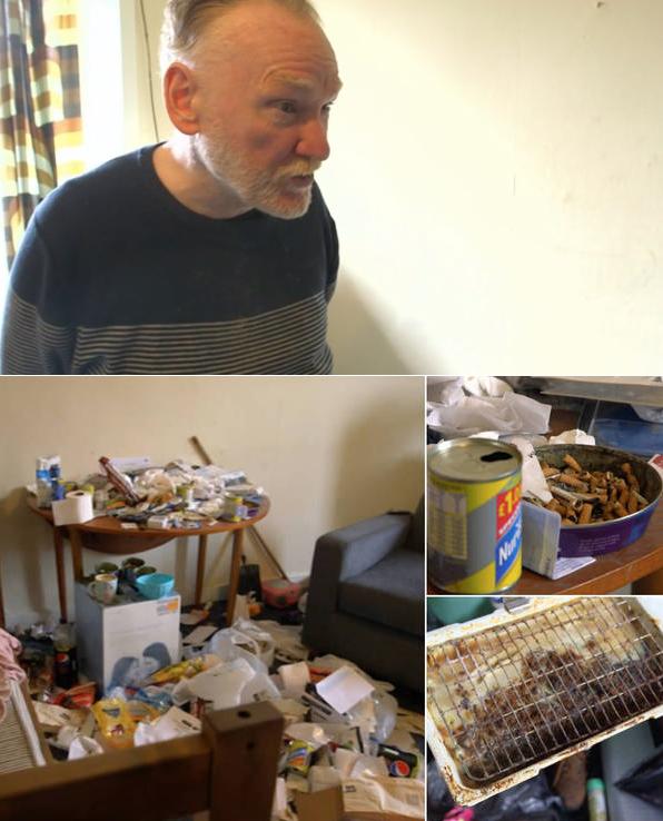 Homem que não limpa a casa há oito anos vive entre lixo e larvas