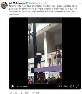 Bolsonaro posta vídeo com homem urinando em outro e conteúdo é restringido