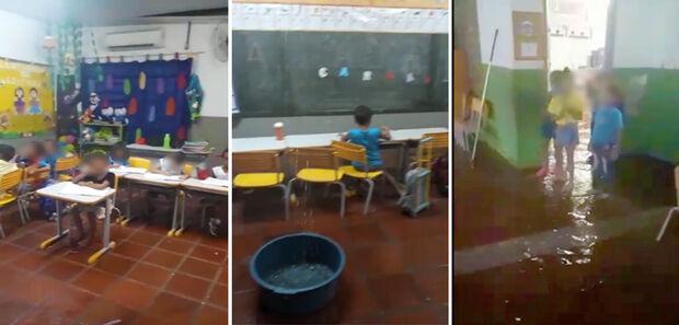 VÍDEO: vereador cobra solução após assistir crianças em meio a chuva dentro de sala de aula