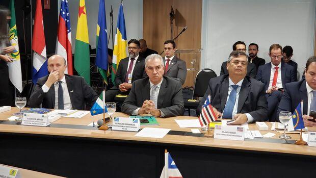 Azambuja discute 'cortesia com chapéu alheio' e recursos para MS com Rodrigo Maia