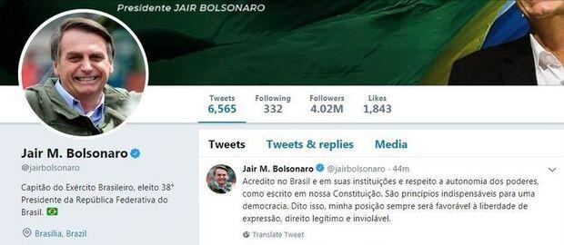 Entre Toffoli e revista, Bolsonaro defende liberdade de expressão