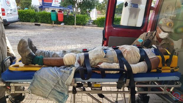Pintor cai de andaime e fica ferido em MS