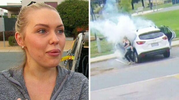 Mãe age rápido e salva filhos segundos antes de carro explodir