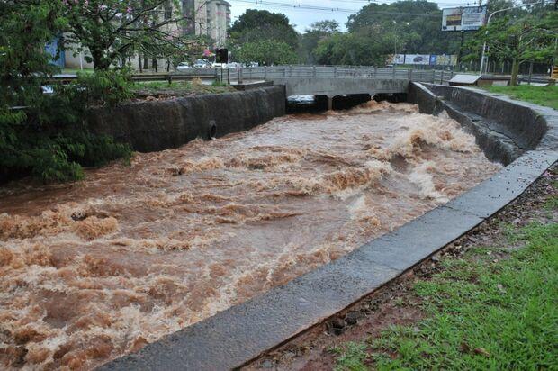 ATENÇÃO MOTORISTAS: chuva deixa córregos no limite em Campo Grande