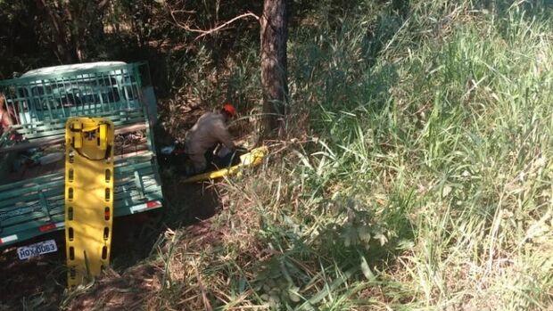 Pneu estoura e caminhonete colide contra árvore em ribanceira na BR-262