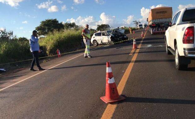 Grávida morre em batida frontal entre carros na BR-163, próximo a Campo Grande