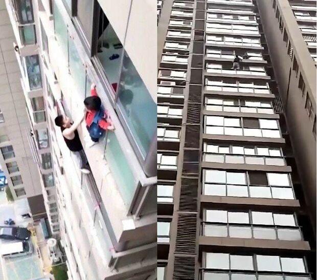 VÍDEO: criança é resgatada após ficar pendurada em prédio a 40 metros de altura