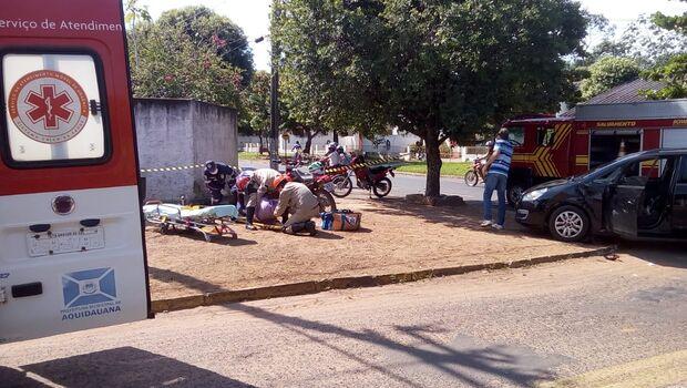 Motociclista fica ferido em acidente entre carro e moto