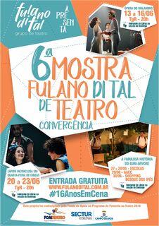 """""""6ª Mostra Fulano di Tal de Teatro"""" acontece neste mês com apresentações gratuitas"""