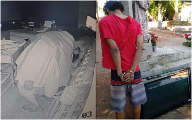 Ladrão fantasma: homem cobre-se com toalha, furta TV e a esconde em cemitério