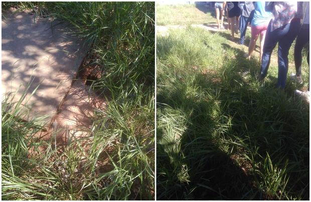 Buraco escondido em gramado traz risco para pacientes de posto em Campo Grande