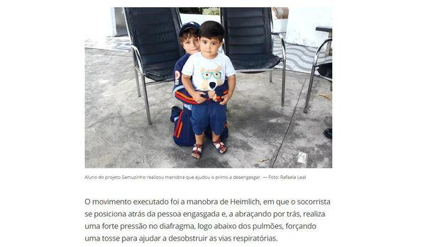 Menino de 7 anos salva primo engasgado com espinha de peixe