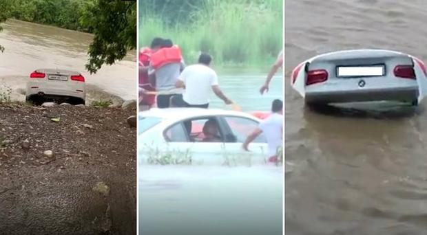 Filho ingrato joga BMW no rio porque queria ganhar um Jaguar