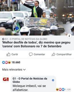 Advogados repudiam ataque de G1 a menino que desfilou com Bolsonaro