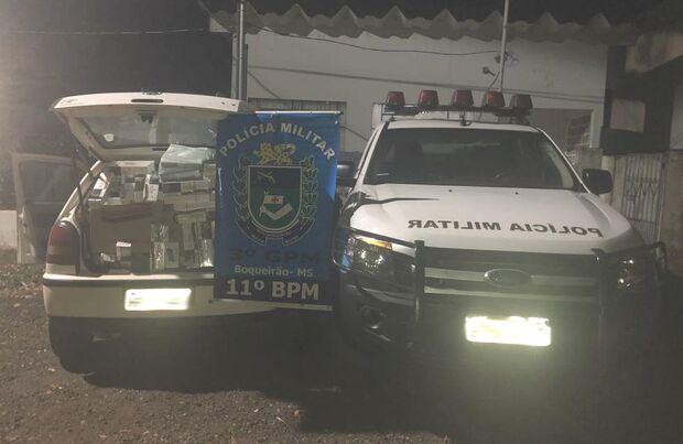 Polícia Militar apreende veículo e cigarros contrabandeados em MS
