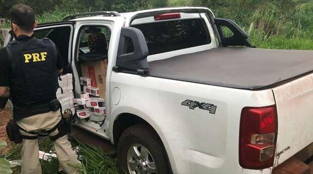 Caminhonete recheada de cigarros contrabandeados é apreendida em Eldorado