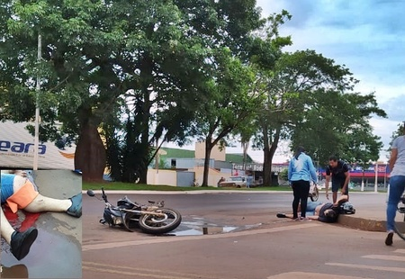 Acidente entre carro e moto deixa motociclista de 28 anos gravemente ferido