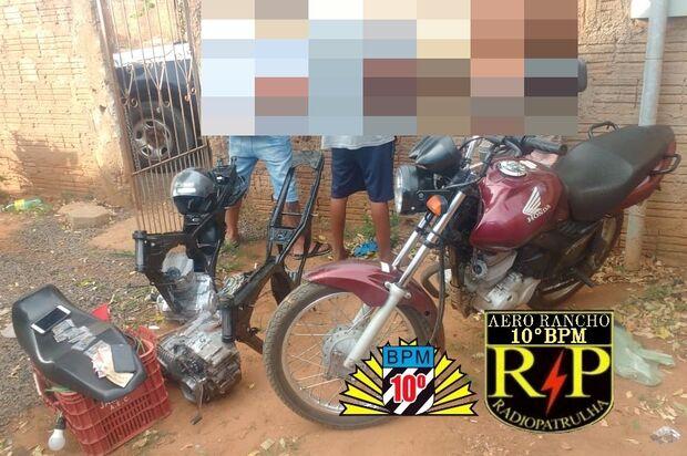 Trio é preso pela PM com moto depenada na região do Aero Rancho