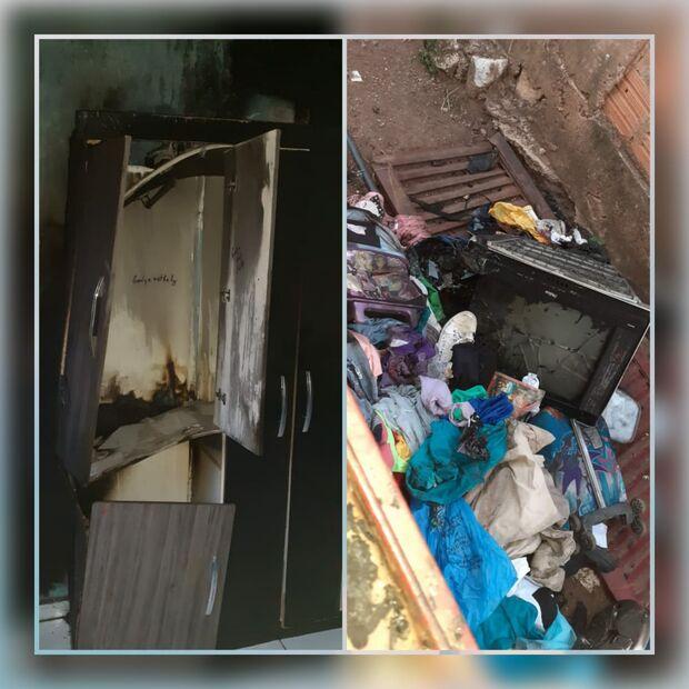 Casa pega fogo, família com 8 crianças fica só com a roupa do corpo e precisa de doações