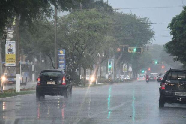 Chuva alaga ruas e derruba árvores em Dourados