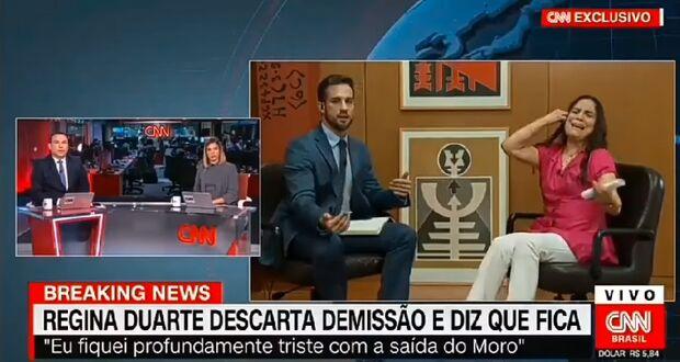 VÍDEO: Regina Duarte se irrita, tira microfone e encerra entrevista ao vivo na CNN