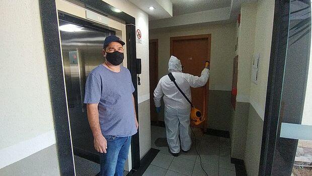 Condomínio dá exemplo de biossegurança e realiza desinfecção contra covid-19