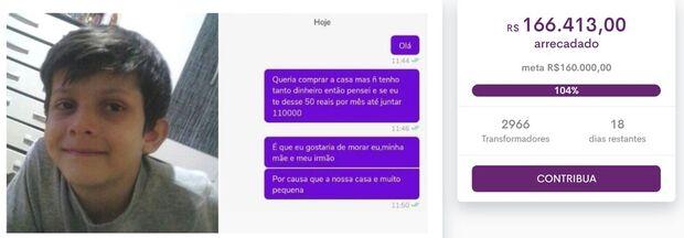 Menino negocia casa por parcelas de R$ 50, mobiliza web e vaquinha arrecada mais de R$ 160 mil