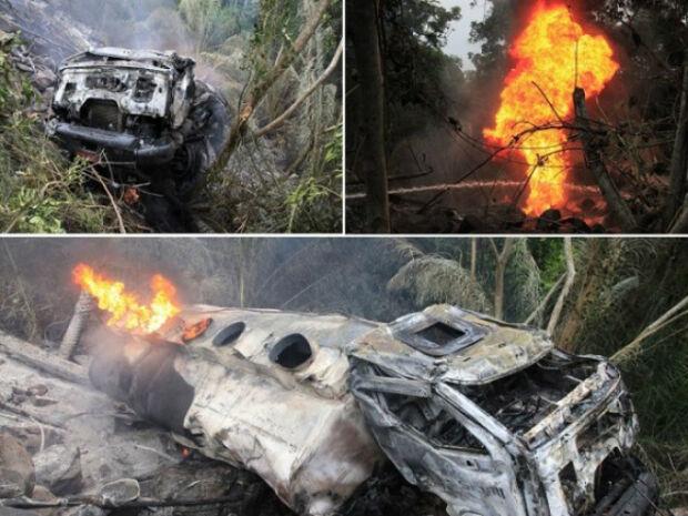 Caminhão cai em ribanceira e motorista morre carbonizado