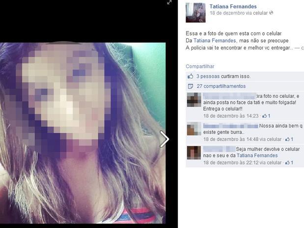 Suspeita de furtar celular posta foto no Facebook da vítima