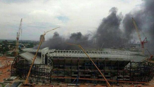 Arena Pantanal é atingida por incêndio e Corpo de Bombeiros é acionado
