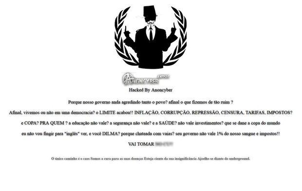 'Anoncyber' invade site e deixa mensagem contra governo e Copa
