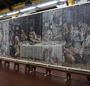 Especialistas recuperam pintura que quase se perdeu com inundação nos anos 60