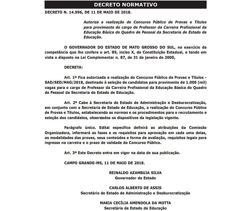 Autorização Concurso SED 2018