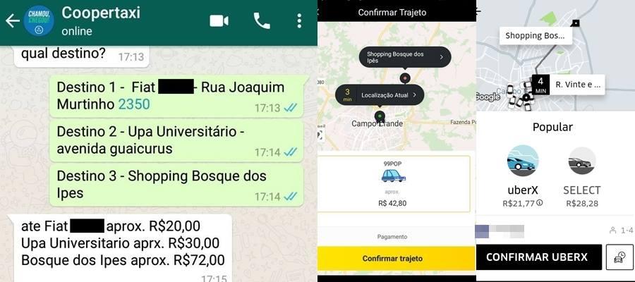 bcb41ff9b (Trajeto de táxi via cooperativa para shopping foi o mais caro entre os  três - Foto  Reprodução Whatsapp)