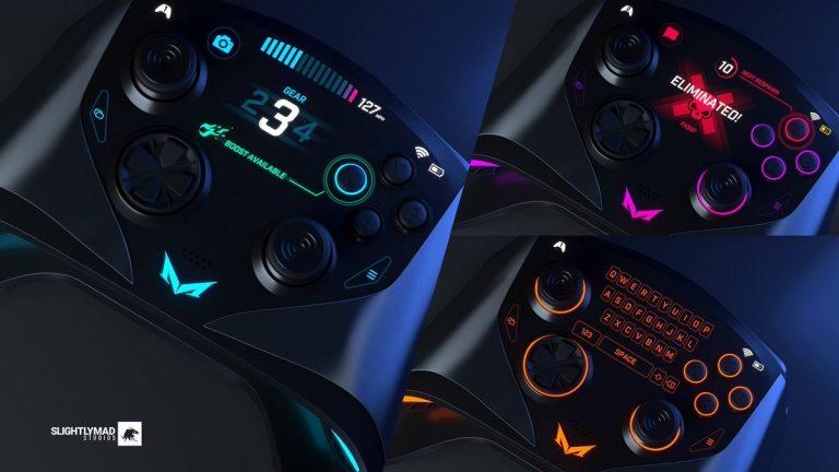 O bleo controle do Mad Box exibe informações do jogo e sugere ser touch